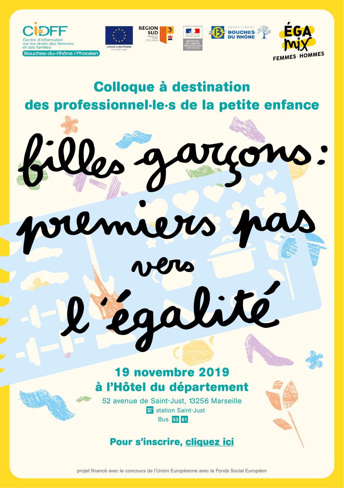 """""""Filles-Garçons : premiers pas vers l'égalité""""  le 19 novembre 2019 à l'Hôtel du département de Marseille."""